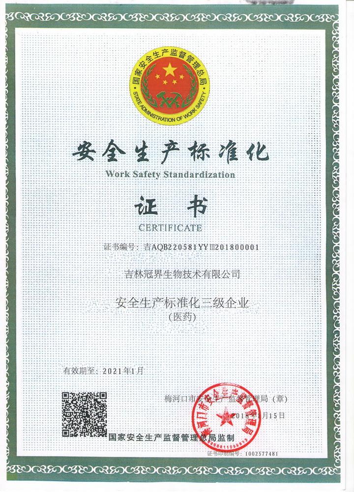 安全生产标准化三级企业(医药)